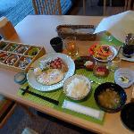 Beautifully presented Japanese set breakfast