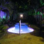 Our private pool at night!