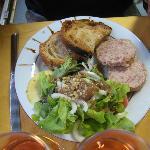 salade et térrine d'oie