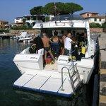 La comoda e veloce barca del Tavolara Diving