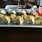 Crunchy Shrimp Roll (foreground) and Smoked Salmon Roll