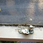 Broken window lock and dirty.