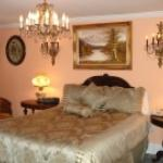 Room with a queen size bed,private bath with a gas fireplace