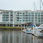 The Ramada Ballina, with small harbour next to it and Richmond River to the left.