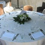 Table settings for the wedding reception