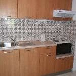 Kitchen in a one bed apartment