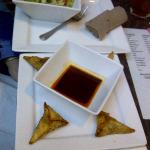 Salad with House dressing ($4.99) and beef triangles ($5.99)