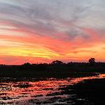 sunset over Mombo lagoon