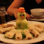 Why is there a snowman on my plate of spring rolls?