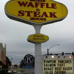 Sign for Belgium Waffle & Steak House