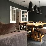 cozy breakfast table and lounge area