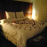 Rose petal turndown service as part of the honeymoon package