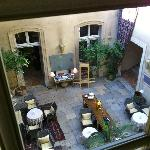 View of the courtyard from the upstairs hallway
