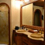 well lit sink and vanity