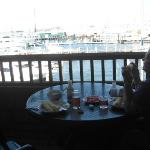 Enjoying lunch on our western porch overlooking harbor