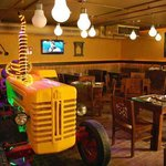 Tractor inside the restaurant
