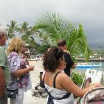People in line to enter the luau.