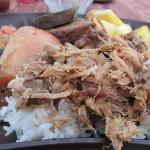 Kailua pork over rice, bread, sweet potato