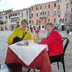 Eating at St. Stefans Piazza not far from the hotel