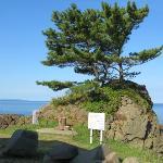 東屋から日本海に粟島を臨む