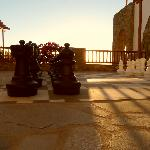 View from life size chess board
