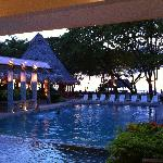 Pool and bar at dusk