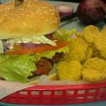 Loaded Burger w/pickle chips