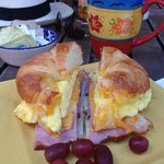Delicious croissant breakfast sandwich!