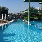 Breakfast terrace above the pool