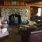 The comfy fireplace sitting area, where we relaxed with some wine, reading, and cribbage
