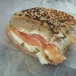 Everything bagel with lox and cream cheese!