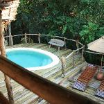 Looking down at our plunge pool
