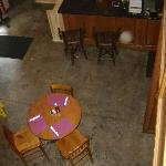 Looking down from the cafe loft area.