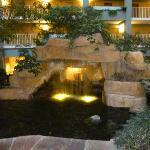 The entry off the main lobby has a nice coi pond.
