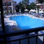 Swimming pool area from bar balcony