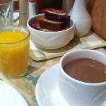 hot chocolate and orange juice