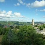View of the Cornell University campus from the Statler property