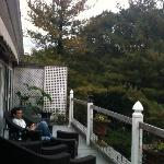 View of large private deck overlooking the Delaware River