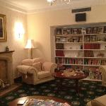 Lounge area with books, DVDs, chess