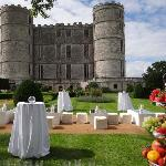 Drinks reception in the Rose Garden at Lulworth Castle