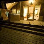 Jacuzzi water villa decking at night