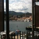 view of the harbour from our table