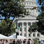 View of Capitol and Saturday morning Farmers' Market taken from the door of the hotel.