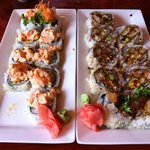 dynamite roll on the right crab salad on the left