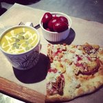 pumpkin soup pickled beets and fig and goat cheese pizza