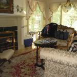 the fireplace and cosy couches