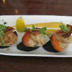 Scallops with black pudding, crispy bacon & a sweet potato puree