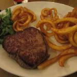 Fillet steak with curly fries