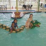 The kids having fun at the water park