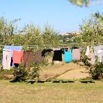 Ah, hanging our laundry out on the line with a view of Montepulciano in the distance. Laundry da